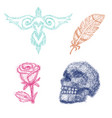 dot work dotted rose or skull with tone and vector image vector image