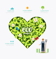 Ecology infographic green heart shape with farmer vector image vector image