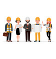 engineers cartoon characters isolated on white vector image vector image