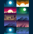 flat banners set with landscape background vector image vector image