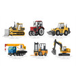 flat construction machines vector image vector image