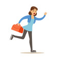 girl running with suitcase late for flight vector image vector image