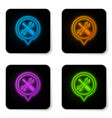 glowing neon location with crossed screwdriver vector image vector image