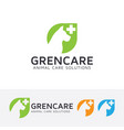 green animal care logo design vector image vector image