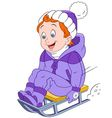 happy cartoon sledding boy vector image