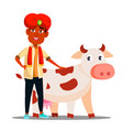 indian child boy in turban with cow vector image
