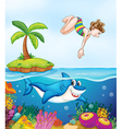 island corel shark and girl diving vector image vector image