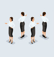 isometric businesswoman front view rear view vector image