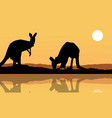 kangaroo on the lake landscape silhouette vector image vector image
