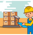 logistic man with cardboard boxes in scale vector image