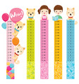 measured height set with girl boy dog and bear vector image