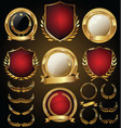 medieval gold and red shields laurel wreaths and vector image vector image