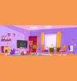 messy kids playroom interior in kindergarten vector image