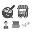 mobile trailer cutting board for pizza boxes vector image vector image
