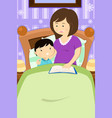 mother reading a bedtime story vector image vector image