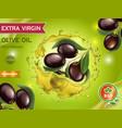 olive oil adverising poster design black olives vector image vector image