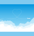 plane flying above clouds heart shaped route vector image vector image