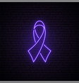 purple ribbon neon sign violet awareness ribbon vector image vector image