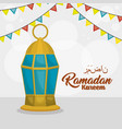 ramadan kareem card with lanterns hanging vector image