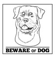 rottweiler dog and beware sign isolated on white vector image vector image
