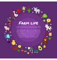 Round farm flat banners depicting life in vector image vector image