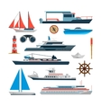Sea set of ships boats and yacht isolated vector image vector image