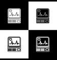 set computer monitor with cardiogram icon isolated vector image vector image