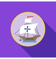 Ship with flag of Columbus icon flat style vector image