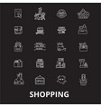 shopping editable line icons set on black vector image vector image