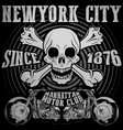 skull tee graphic design motorcycle club vector image vector image