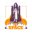 space isolated icon spacecraft start cosmic rocket vector image vector image