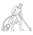 superhero with vacuum cleaner coloring book vector image