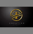 t golden letter logo design with circle swoosh vector image