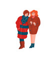 two girls dressed in stylish seasonal clothes vector image vector image