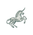 Unicorn Horse Prancing Side Etching vector image vector image