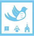 vetor christian baptism card with a church vector image
