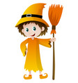wizard holding magic broom vector image