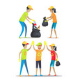 woman and men happily working vector image