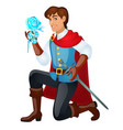 young handsome prince with a sword holding an ice vector image
