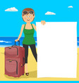 young woman at beach with suitcase and blank board vector image
