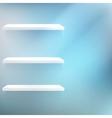 Three White empty shelves vector image