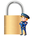 a smiling cop beside giant padlock vector image