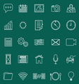 Application line icons on green background vector image vector image