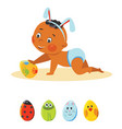 baby boy in bunny ears with decorative eggs vector image vector image