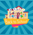 back to school template poster with small students vector image