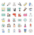 beauty body cares products and cosmetics icon set vector image vector image