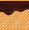 Chocolate ice cream glaze on wafer background vector image