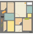 Collection of various vintage papers paper sheets vector image vector image