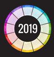 colorful round calendar 2019 design print vector image vector image