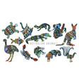 colorful tribal set of australian animals